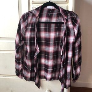 Full tilt thin plaid flannel, burgundy colored